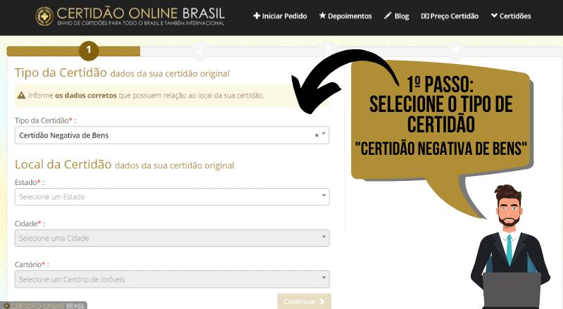 Cartório Registro de Imóveis - Certidão Negativa de Bens (pesquisa de bens) - Passo 1